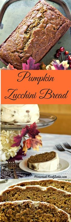 #Pumpkin #Zucchini #Bread is one of the best things about Fall. Combining warm rich pumpkin and zucchini together creates a moist rich breakfast or dessert.