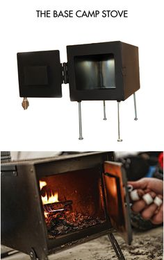 """THE BASE CAMP WOOD STOVE  This is a small wood stove perfect for a wall tent, tiny house, camping, small workshop or cabin.  It's made out of 1/16"""" steel for years of dependable use.  The pieces are cut on a CNC laser and welded together.   The legs are 6"""" bolts that thread into nuts welded onto the bottom of the stove so they can be removed for storing or transportation and they can also be used to secure the stove to a shelf or countertop.  It is designed to be used with 3"""" stove pipe."""