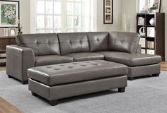 Springer Grey Leather Sectional Sofa