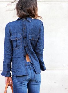 Serious denim shirt detail