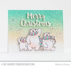 Polar Bear Pals Stamp Set and Die-namics, Stylish Snowflakes Die-namics, Merry Christmas Die-namics - Melania Deasy  #mftstamps