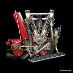 No 74: VINTAGE INDIAN V-TWIN ENGINE AROUND 1912   by Gordon Calder