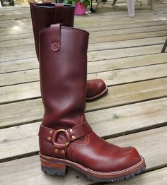 "Men's 16"" WESCO Brown Harness Leather Boots - Motorcycle - Biker - 9.5 D #WescoWestCoastShoeCompany #Motorcycle"