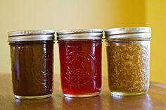 Pumpkin Butter, Pomegranate Jelly, and Apple-Cinnamon Jam