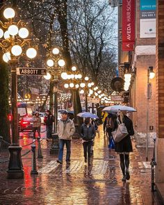The Yellow Brick Road . The wonderful Water Street of Gastown. Street lamps cast a golden glow off the rain soaked 'sett' sidewalks. Captured Thursday evening from the corner of Abbott and Water Street in Vancouver British Columbia Canada Vancouver Island, Vancouver Travel, Vancouver City, Vancouver British Columbia, Vancouver Photos, Yellow Brick Road, City Photography, Vancouver Photography, Street Lamp