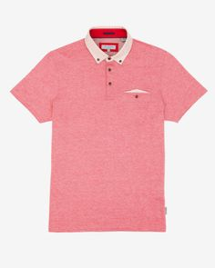 Printed collar polo shirt - Red | Tops & T-shirts | Ted Baker UK