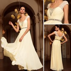 Floor-length V-neck A-line Short sleeve Prom Dress