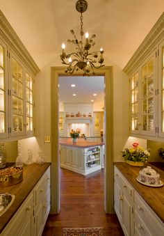 Butler's Pantry: my notes-- see the lighted interior cabinets with glass front doors to augment the gorgeous dishes I have Pantry Room, Kitchen Pantry, Bulters Pantry, Hidden Kitchen, Pantry Storage, Pantry Organization, Pantry Closet, Walk In Pantry, Pantry Shelving