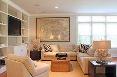 Trisha Troutz: Hamptons Houses No. Hamptons House, The Hamptons, Living Area, Living Spaces, Living Rooms, Basement Inspiration, Basement Ideas, Tv Built In, Kid Spaces