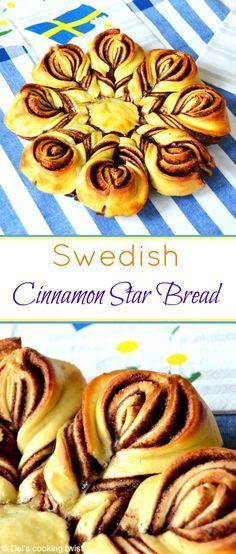 A beautiful cinnamon star bread shaped like a cinnamon bun. Perfect for Midsummer! Christmas Bread, Christmas Baking, Swedish Christmas Food, Christmas Star, Scandinavian Christmas, Bread Shaping, Swedish Recipes, Sweet Bread, The Best