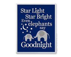 Baby Elephant Nursery Art Print, Star Light Star Bright Nursery Rhyme Picture, Boys Bedtime Baby Room Decor, Navy and Grey on Etsy, $20.00