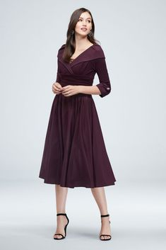 Portrait Collar and Cuff Sleeve Ruched Waist Dress Style Eggplant, 10 Cute Girl Dresses, Short Dresses, Bride Dresses, Wedding Dresses, Mob Dresses, Casual Dresses, Fashion Dresses, Front Slit Dress, Dress The Population