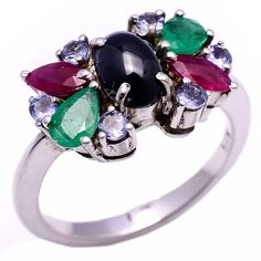 Ruby,Tanzanite,Emerald & Sapphire ring in 925 silver