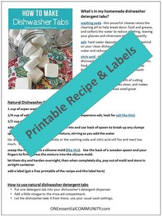 easy-to-make homemade natural dishwasher detergent tabs and they REALLY WORK! Cleans stuck-on food, gets silverware shiny, & glasses sparkling! DIY essential oil recipe for dishwasher detergent tabs. Dishwasher Tabs, Homemade Dishwasher Detergent, Dish Detergent, Essential Oils Cleaning, Young Living Essential Oils, Cleaning Recipes, Cleaning Tips, Cleaning Supplies, Green Cleaning