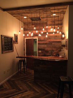 Everything is made from recycled pallets, except the bar top, which is a cool live edge slab of wood. Even the floor is made from ...