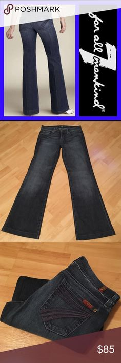 "7 for all mankind: Dojo size - 26 Worn Hawthorn wash in excellent condition!! Inseam: 31"", Rise: 7.75"", Leg opening: 21"". They measure 14.25""across the waist when laying flat. Material: 98% cotton, 2% spandex. 7 for all Mankind Jeans Flare & Wide Leg"