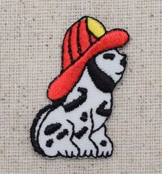 Iron On Embroidered Applique Patch Childrens Small Dalmatian Fire Dog with Hat