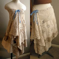 "Lace Convertible Skirt Dress Vintage Linens Repurposed Upcycled Asymetrical Hem Hippie Boho Up to 36"" Waist"