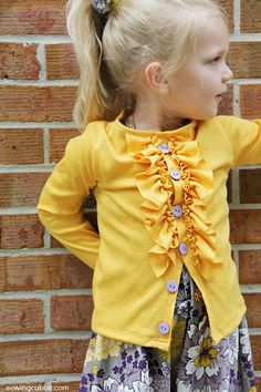 sew: Ruffled Cardigan Tutorial || sewingrabbit.com Okay, I know this is for a little girl, but I could totally make one big enough for me. So cute!!!