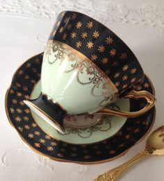 Lovely vintage tea cup and saucer, made by Queens China of England. It is in perfect condition, both pieces ring nicely, no chips, cracks or crazing. There are a few black marks inside the cup, please see pictures. Please Note: The items I sell are not new, they are vintage or