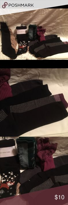 Lot of 9 Pairs of Socks Plus Leggings Includes 9 pairs of long socks plus Leggings. 1. Gray dressy knee-high socks 2. Black dressy knee-high socks 3. Purple, black, and white dressy knee-high socks 4. Off-black dressy knee-high socks 5. Maroon lace-top mid-calf socks 6. Green Slytherin mid-calf socks 7. Jones New York M/L fleeced footless tights 8. Black fox and winter themed mid calf socks 9. Nude knee high socks meant to be work with open flats 10. Two mismatched black dressy socks Some…