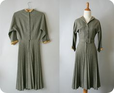 1950s vintage dress / 50s pleated dress / heather grey dress. $100.00, via Etsy.