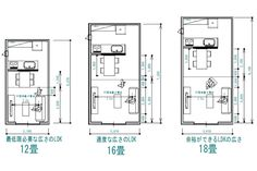 LDKの広さを比較して目安を知ろう Architecture Plan, Residential Architecture, Floor Plan Sketch, Compact Living, Interior Garden, Small Studio, Room Dimensions, Maine House, Home Hacks