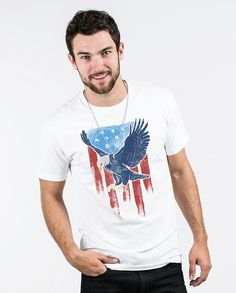 bc2cff62b7a Vintage Eagle Flag Mens Premium Fitted Tee