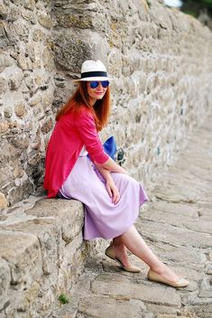 Summer colours - coral, cobalt and lilac - Not Dressed As Lamb A Boutique, Fashion Boutique, Sightseeing Outfit, Coral Cardigan, Summer Colours, Pastel Colors, Light Brown Hair, Summer Looks, What To Wear