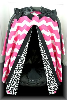 Chic car seat canopy cover with cheetah and hot pink chevron will protect baby from the harsh sun.