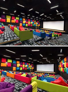Colorful Beanbags Have Replaced Seats In This Cinema Home Cinema Room, Home Theater Rooms, Home Theater Design, Auditorium Design, Arcade Room, Kids Indoor Playground, Luxury Homes Dream Houses, Church Design, School Architecture