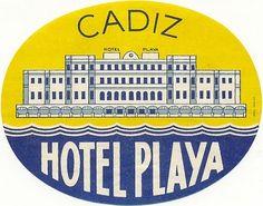 luggage label - Hotel Playa, Cadiz