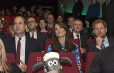 The Duke and Duchess of Cambridge and Prince Harry enjoy a screening of the new 30-minute Shaun The Sheep production made by Aardman Animations, called The Farmer's Llamas! at Bafta's headquarters in London