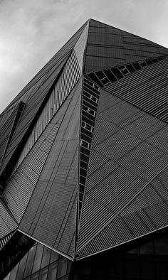 Geometric architecture with graphic panels; b&w pattern inspiration // Singapore