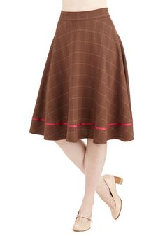 Streak of Success Skirt in Brown Plaid. When you don this brown plaid A-line skirt, you channel a winning, smart style! #gold #prom #modcloth