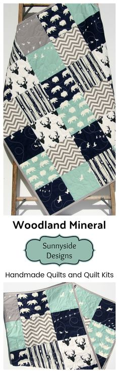 Handmade Baby Quilt, Toddler Bed Quilt, Quilts for Sale, Mineral Navy Blue Woodland Baby Bedding, Crib Blanket, Nursery Decor, Modern Woodland Nursery, Boy Woodland Quilt, Baby Quilt Kit Toddler Quilt, Sewing DIY Craft Project Ideas Sewing Kit by Sunnyside Designs