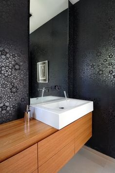 wallpaper + bathroom for upstairs near office