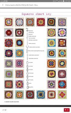 코바늘뜨기 네모난 모티브 도안 : 네이버 블로그 Grannies Crochet, Crochet Squares Afghan, Granny Squares, Treble Crochet Stitch, Crochet Stitches, Knit Crochet, Granny Pattern, Hippie Crochet, Magic Loop