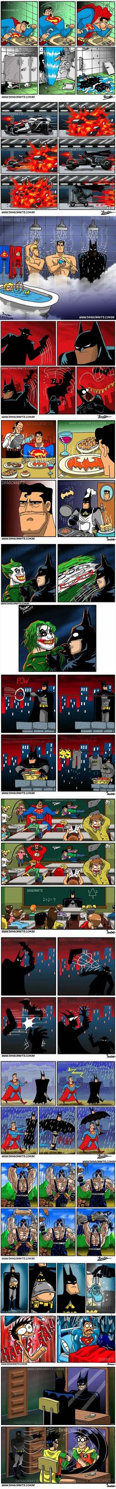 The Funniest Superhero Comics Collection (Part - Batman Funny - Ideas of Batman Funny - I don't know what's funnier the Bat scooter or Aquaman in the bathtub with his rubber ducky. Comics Story, Bd Comics, Marvel Dc Comics, Funny Comics, Humor Batman, Funny Batman, Batman Stuff, Tableau Star Wars, Rage Comic