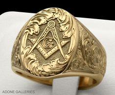 master mason hand engraved gold signet ring