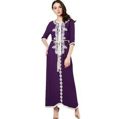 Muslim women Long sleeve Dubai Dress maxi abaya jalabiya islamic clothing robe Moroccan embroidery vintage dress 1715