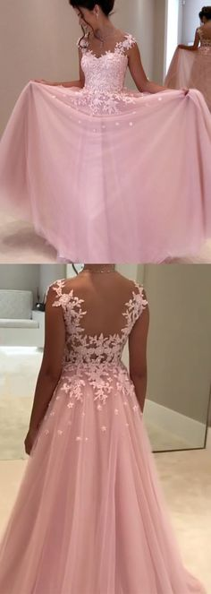 princess style a line pink prom dress, chiffon long prom dress, elegant lace evening dress