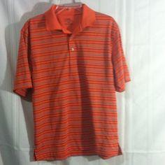 Golfing shirt Orange short sleeve PGA Tour golf shirt,medium. Striped with collar and 3 buttons . Smoke free stain free Tops
