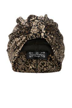 Black and Gold Brocade Patterned Velvet Turban