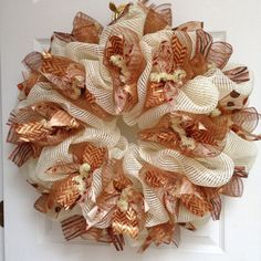 Hey, I found this really awesome Etsy listing at https://www.etsy.com/listing/208243580/gorgeous-ivory-and-gold-ribbon-wreath