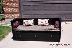 Turn an old dresser into a bench! What a great, money saving idea! Buy an inexpensive dresser at a garage sale. The bottom drawers will fit perfectly and you can use the top, back and sides to make the bench itself.