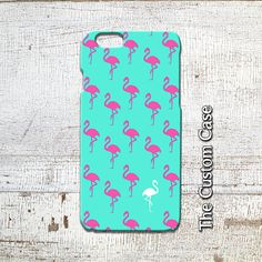 Flamingo IPhone Case Pink Flamingo on Turquoise by TheCustomCase