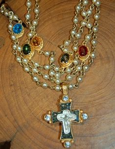 Rosary pearl necklace by Virgins, Saints & Angels. This vintage ...