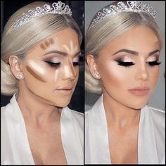 Contours and highlights - - Contours and highlights Beauty Makeup Hacks Ideas Wedding Makeup Looks for Women Makeup Tips Prom Makeup. Highlighter Makeup, Contour Makeup, Contouring And Highlighting, Eye Makeup, Hair Makeup, Contour Kit, Makeup Brushes, Contour Palette, How To Contour