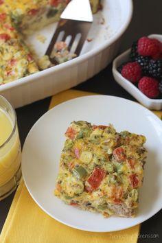 Farmers' Market Overnight Breakfast Egg Casserole {Two Healthy Kitchens}